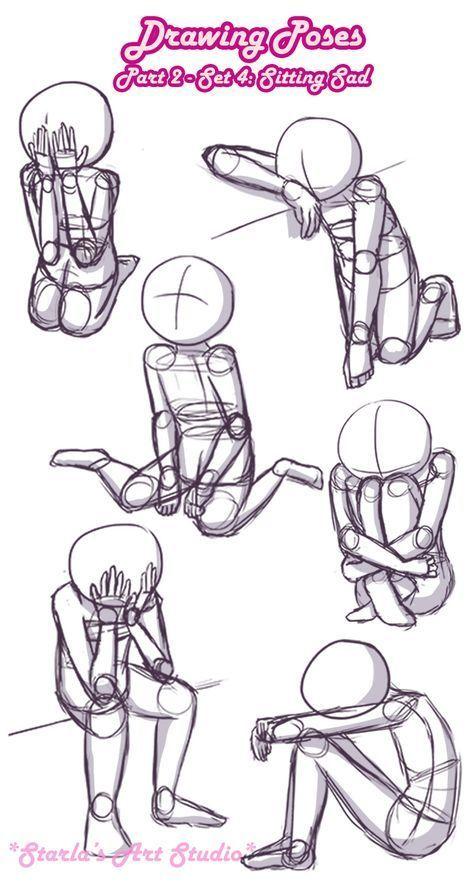 Traurige Posen sitzen: Hier ist eine kurze Referenzseite für traurige Posen. Diese pi