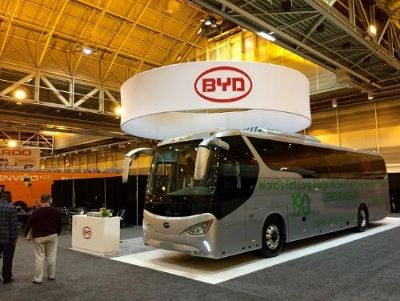 : The BYD C9 Motor Coach 47 passenger 190 mile at highway speeds all Battery Electric Drive Bus