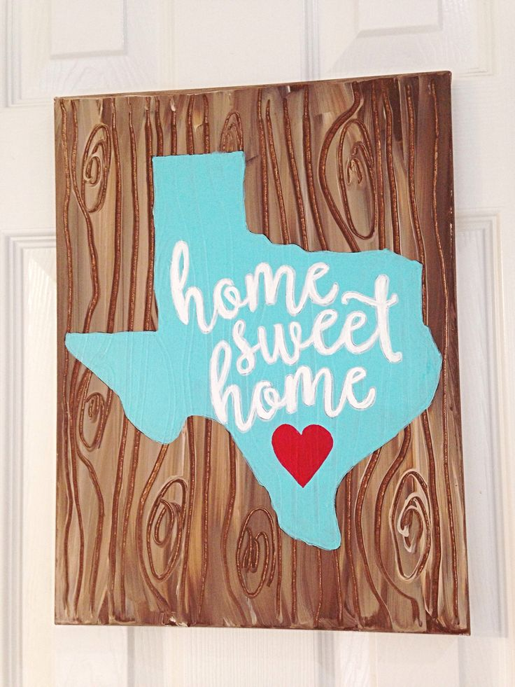 This unique hand painted canvas sign is a perfect addition to your home décor. Texas home sweet home hand lettered canvas is hand painted to resemble a wood background with a little whimsy flair. Each