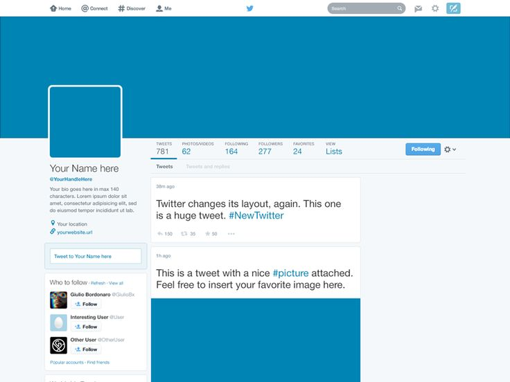 Freebie Twitter 2014 GUI PSD (New profile template) Template - profile templates