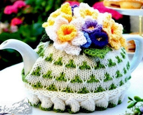 Floral Spring Flower Tea Cosy Knitting Pattern PDF $4.02 on Etsy at http://www.etsy.com/listing/68765049/pdf-knitting-pattern-for-a-floral-spring