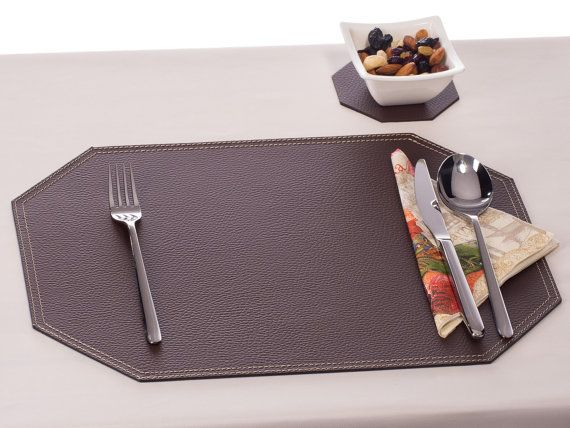 Octagon Placemat,Octagon Table Mats, Octagon Place Mat, Bonded Leather  Placemat, Brown