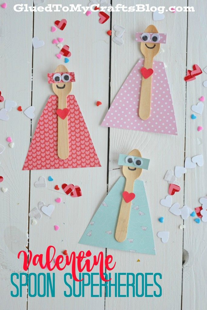 Valentine Spoon Superheroes -  super cute Valentine's day craft for kids!