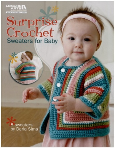 �If you are a fan of Elizabeth Zimmerman's classic knitted Baby Surprise Jacket, then you will love the crochet baby jacket version created by Darla Sims. This classic baby jacket design receives an upscale look with the several� design options available when you purchase the pattern booklet. The Surprise Sweater style works well for both boys and girls. The extra bonus is the options included to add stripes, ruffles, a hood, collar or other sweet details that fit
