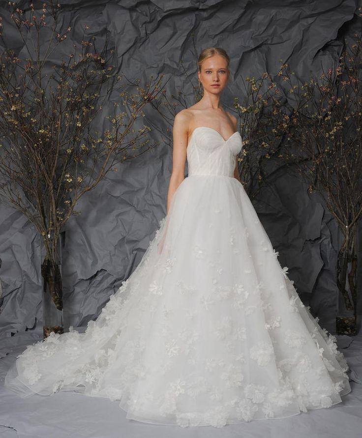 White, strapless ballgown with floral appliques on the skirt | Austin Scarlett Spring 2017 | https://www.theknot.com/content/austin-scarlett-wedding-dresses-bridal-fashion-week-spring-2017