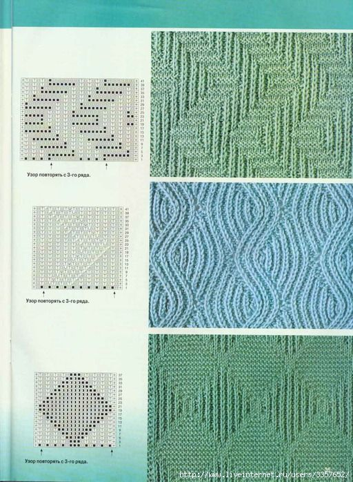 knit/purl stitchpatterns (Source: www.liveinternet.ru/users/lesenkag/post123707780/)