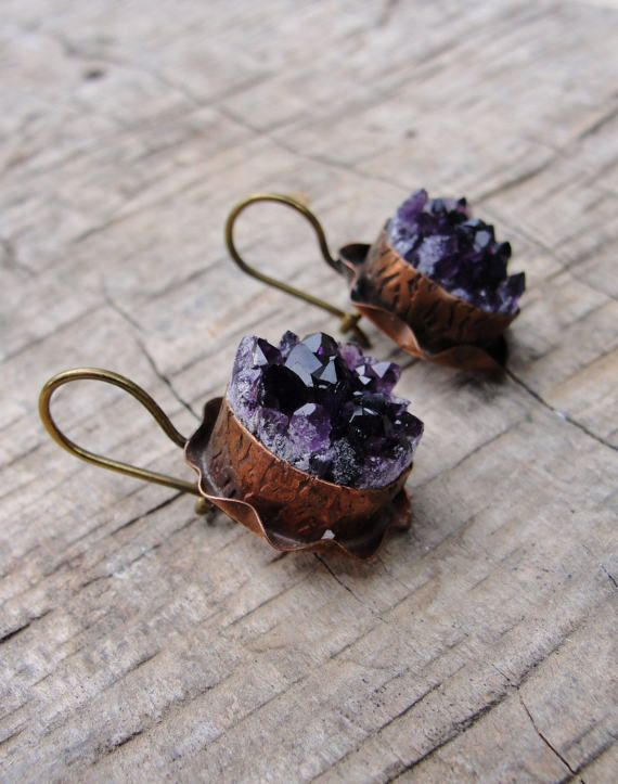 Druzy Amethyst Earrings Hand formed Copper and Bronze Statement jewelry