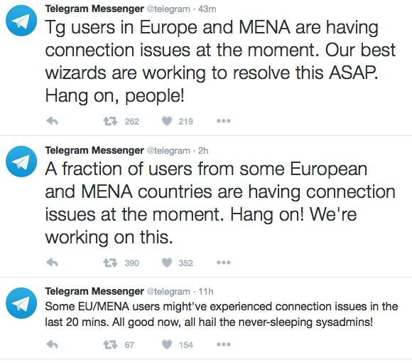 Many Telegram users are having connections issues and are taking to social media networks such as Twitter to let others know.
