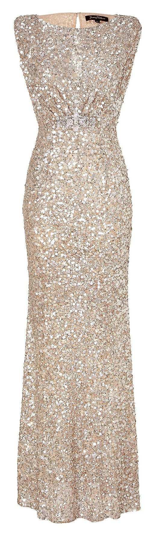 Jenny Packham Soft Gold Sleeveless Sequin Dress