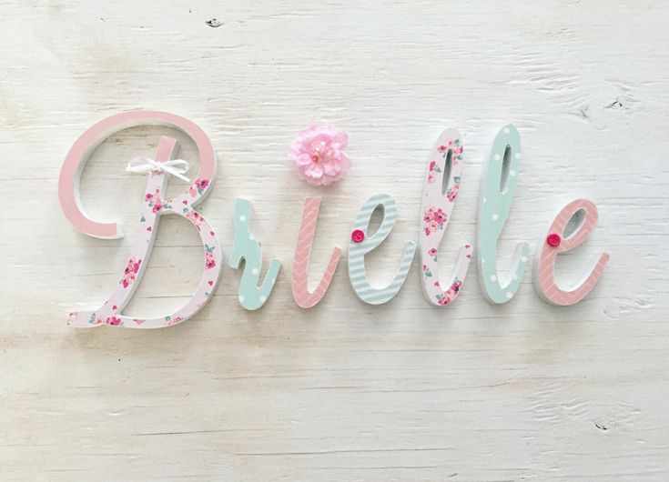 Baby Girl Nursery Decor Name Letters - Girls Bedroom Decor - Handmade Girls Wooden Letters - Mint Pink Nursery Room - Price Per Letter by LoveLettersForGracie on Etsy https://www.etsy.com/listing/488958586/baby-girl-nursery-decor-name-letters