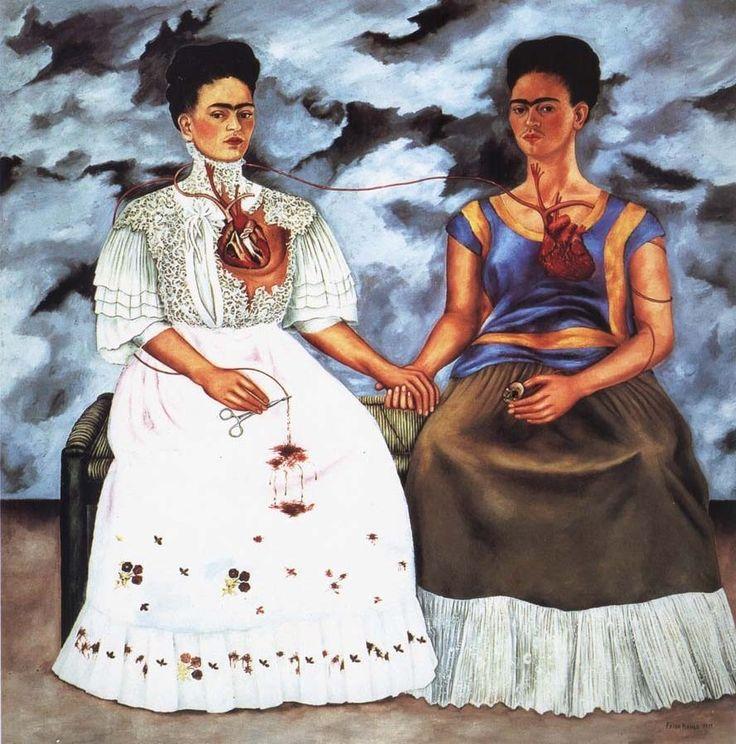 """Ahora entiendo a Frida Kahlo cuando pintó """"Las dos Fridas"""". Ese desdoblamiento de personalidad, ese mirar y verse tan igual y tan distinta. Ese control sobre si misma manifestado en esa pinza oprimiendo la arteria. El impoluto vestido y el vestido típico..."""