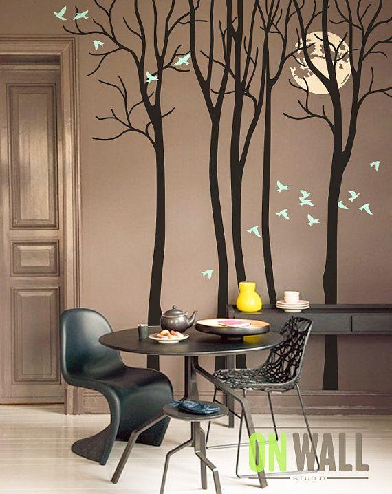Luna llena - sala vinilo árbol etiqueta etiqueta de la pared, mural de aves - M021
