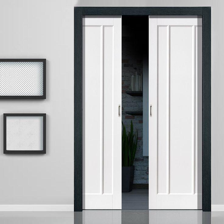 Jamaica Shaker Panel White Double Pocket Doors