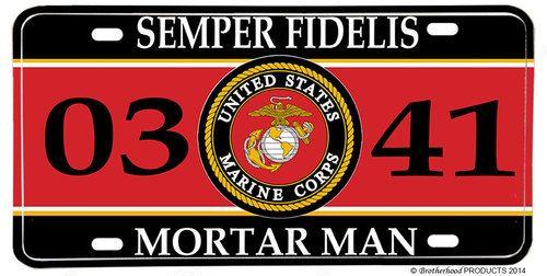 US Marines MOS 0341 Mortar Man License plate