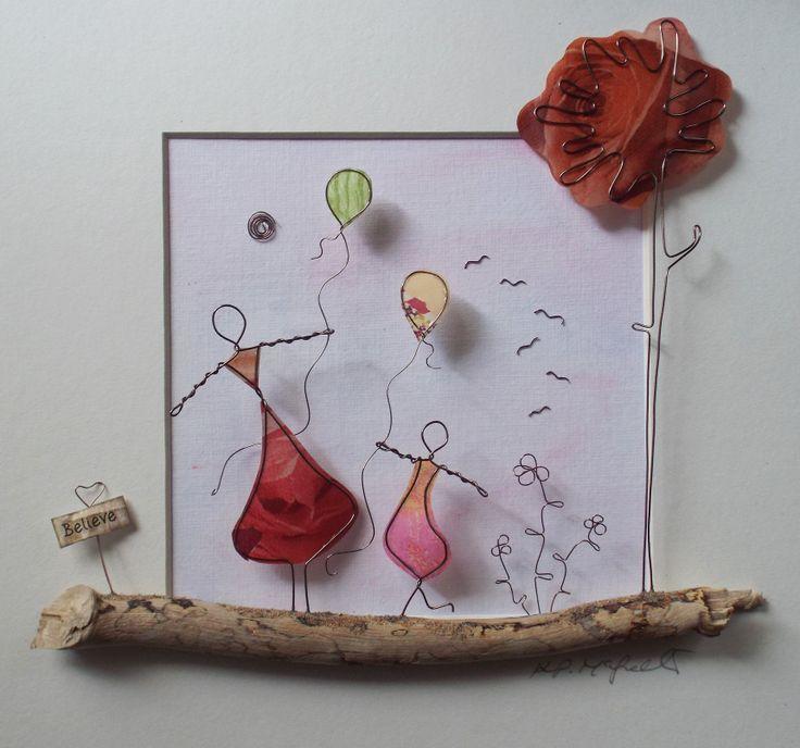 Wire Art: Copper Wire, Paper & Driftwood.