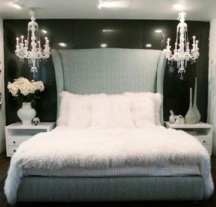 White Walls With Black Accent Wall Chandelier Huge Fabric