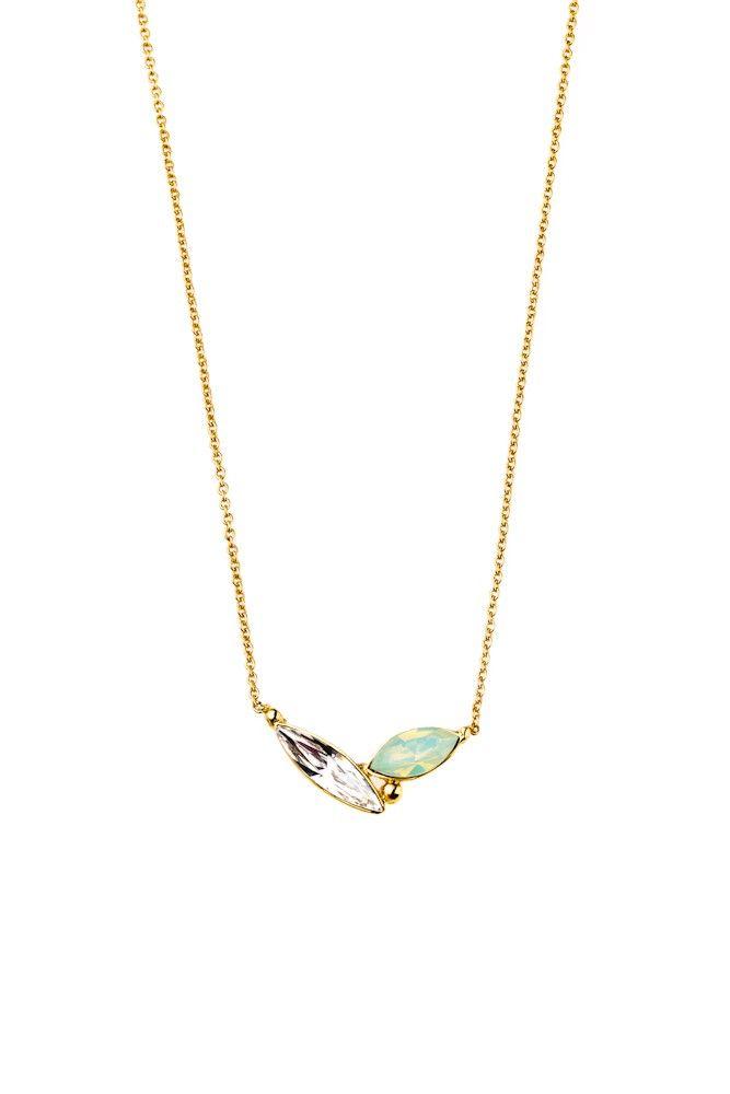 Minimalistyczny naszyjnik pozłacany 24-karatowym złotem i ozdabiany kryształami Swarovski Crystals w eleganckiej bieli i miętowej zieleni.