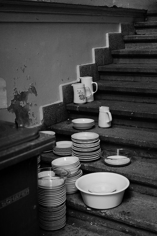 Plates in a back alley in Budapest, Hungary