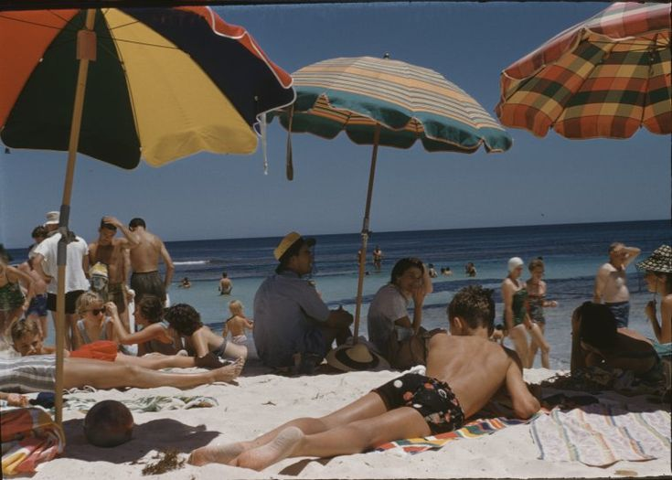 135833PD: The body beautiful - mixed grill. Beach goers at The Basin, Rottnest Island, 1950s https://encore.slwa.wa.gov.au/iii/encore/record/C__Rb2908298