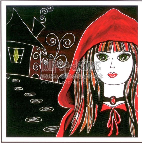 Little Red Riding Hood Giclee Print Fine Art Reproduction of Original Painting 5.9x5.9in 15x15cm $9.92