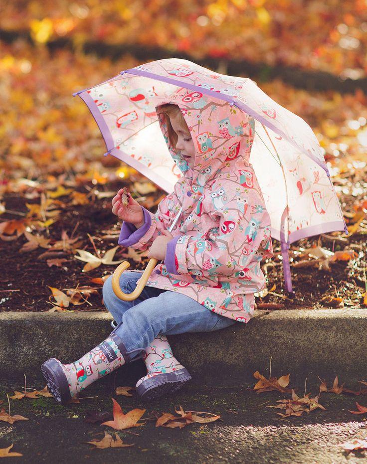 Oakiwear Kid's Perched Owls Rain Coat | Oaki - Rain Gear, Kids rain suits, kids waders, kids rain gear, and kids rain coats