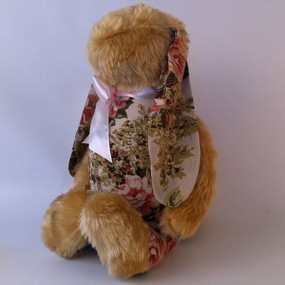 Brown - flowers soft cuddly bunny toy