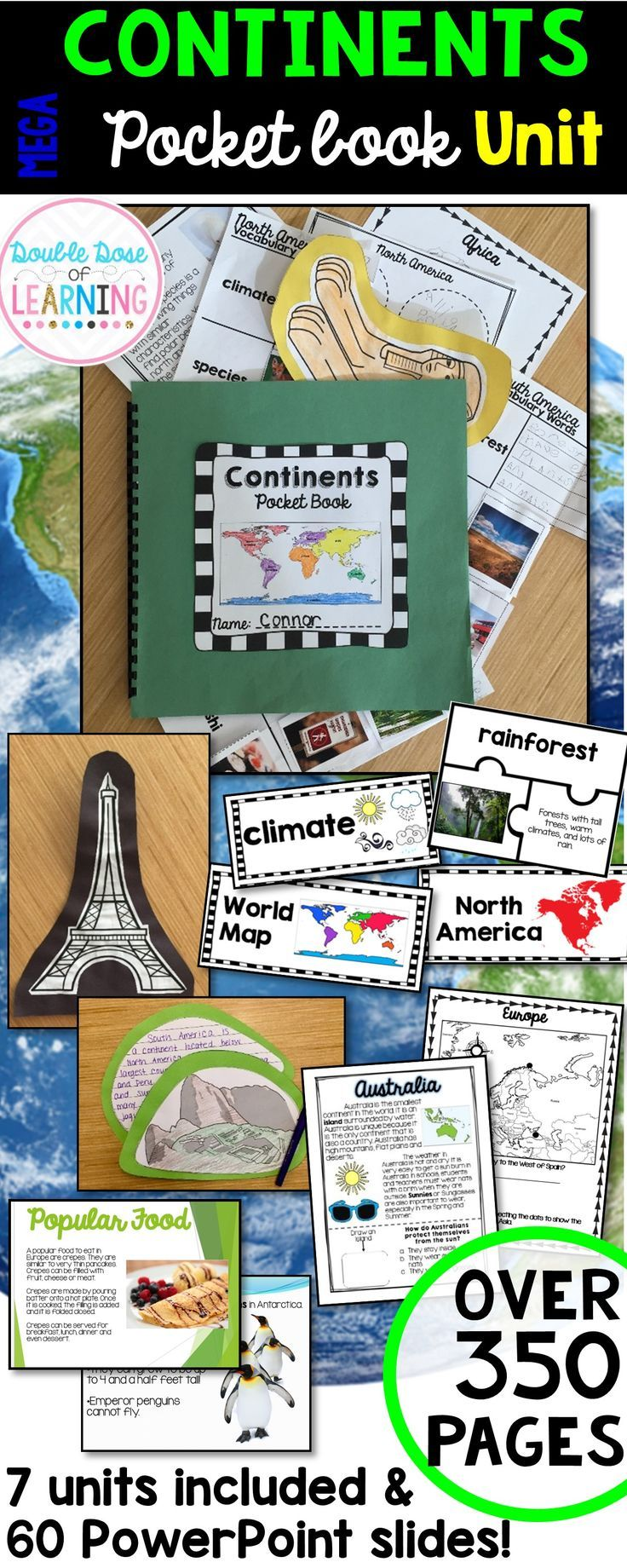 *Discovering the 7 Continents unit plan* {North America, South America, Europe, Asia, Africa, Australia and Antarctica!} Each Continent Includes:  *How to Use page with daily activities. *PowerPoint Presentation *Student Workbook with comprehension questions: 4 pages *Colorful vocabulary cards *Definitions for Vocabulary words *Vocabulary word flip book with pictures *Graphic Organizer *Interactive map of continent worksheet *Writing paper *Photos for an Anchor Chart *Smart Art writing…