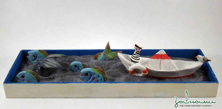 Купить Морской пастух - темно-синий, песочница, игра, скульптура, кукла, песок, фигурка, море