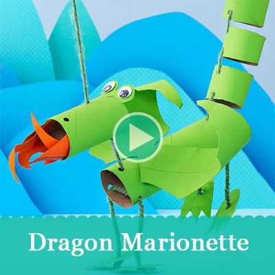 Use cardboard paper towel and toilet paper tubes to create a dragon marionette puppet! #craft