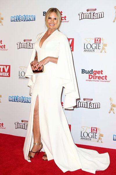 Sonia Kruger wearing Steven Khalil at the 2015 Logie Awards.
