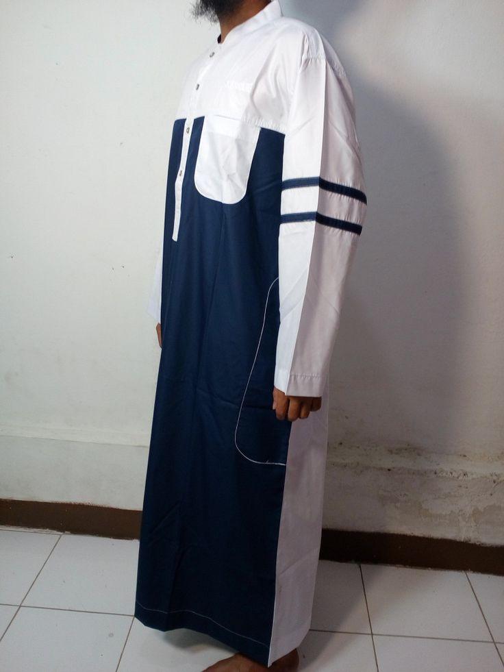 Baju Kurung Laki-Baju Gamis Atas Mata Kaki-Baju Jubah Pria Warna biru dongker-putih Lengan Garis-Baju Muslim Samase