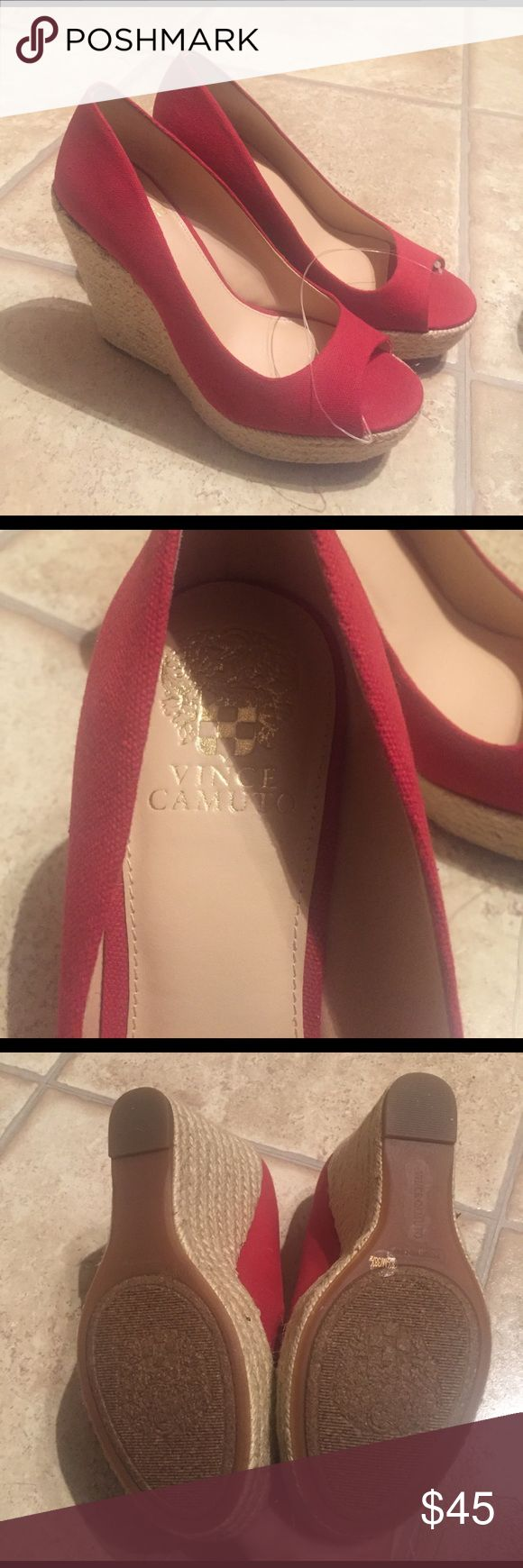 """NEW! Vince Camuto Red Platform Peep Toe Wedges NEW! Vince Camuto Peep Toe Wedges in size 8.5. Red color. Beautiful shoe for spring and summer! Brand new, never worn. Platform with 1.25"""" in front and 5"""" heel. 🔘Pet & Smoke-free home  🔘Same or next day shipping Vince Camuto Shoes Wedges"""