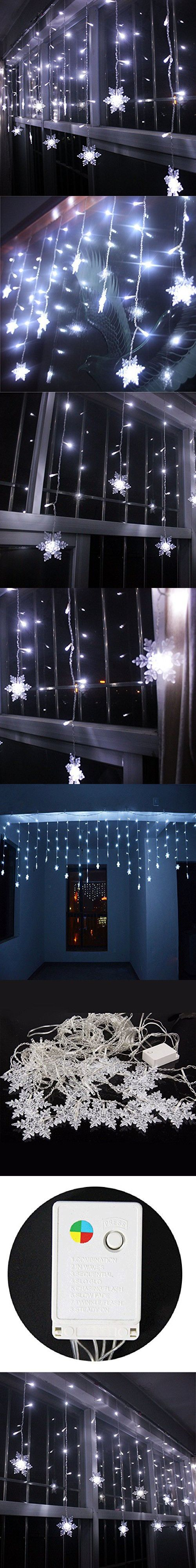 LIANGSM 3.5M 96 LED Fairy Lights Curtain Icicle Starry String Lights for Bedroom Christmas New Year Home Garden Wedding (snowflake white)