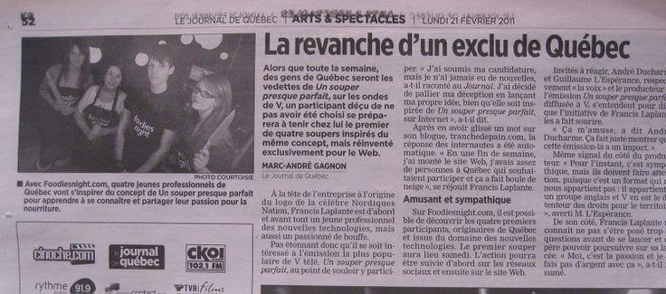 Un article sur un Foodies Night Presque Parfait dans la journal de Québec