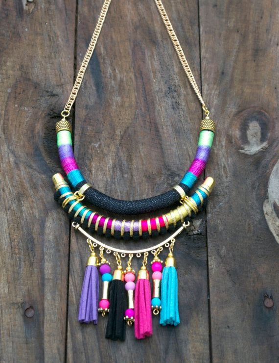 Declaración collar tribal bohemio hippie collar por tashtashop