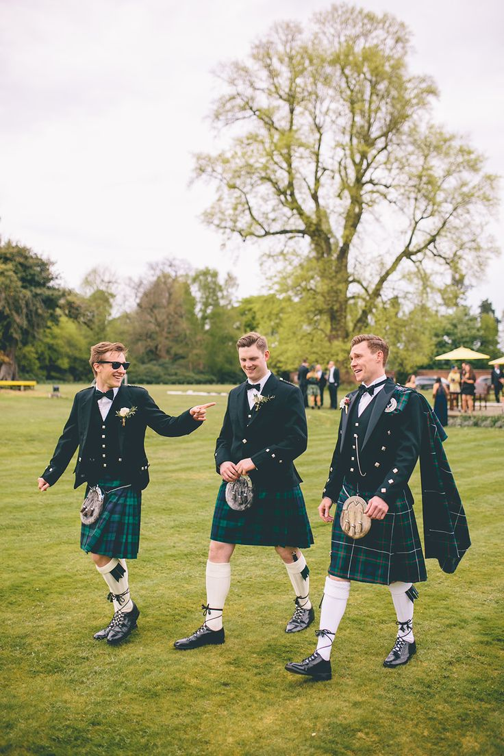 Groomsmen in Tartan Kilts | White by Vera Wang | Royal Berkshire Hotel | Groom In Kilt | Story & Colour Photography | http://www.rockmywedding.co.uk/lily-ewan/