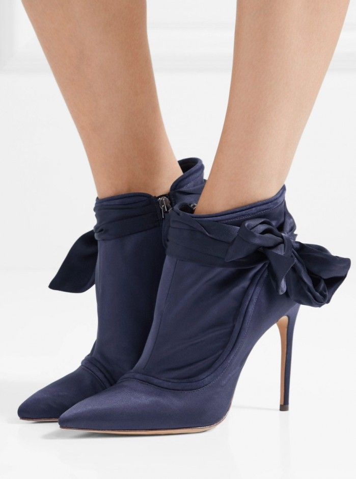 ALEXANDRE BIRMAN Liz suede-trimmed embellished satin ankle boots | Buy ➜ https://shoespost.com/alexandre-birman-liz-suede-trimmed-embellished-satin-ankle-boots/