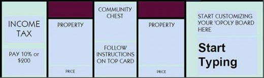 Standard template for a customized Monopoly game.