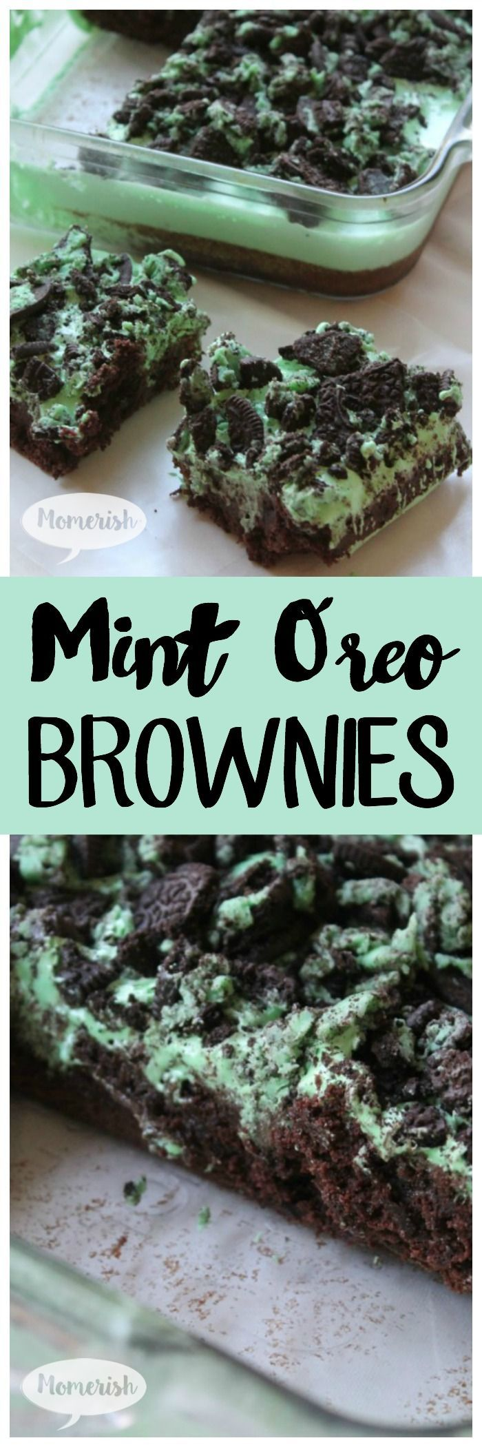 Mint Oreo Brownies - This delicious Oreo dessert is heavenly, layered with mint, marshmallow, and cookies! Get the recipe now!!