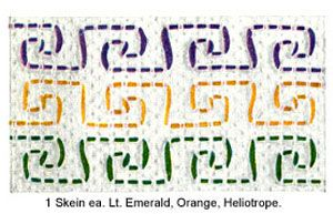 "Swedish Embroidery Pattern 1: GENERAL DIRECTIONS: Embroidery is worked on wrong side of towel. Fold the width of towel in half to get the centre 2 vertical threads of towel. With ""STAR"" Embroidery Cotton start design at center 2 threads of towel, allowing ½ length of embroidery cotton to work each side of 1st row. Follow the illustrations carefully so the pattern will come out even on each side. Always pick up set of 2 threads of towel for weaving. FRONT"