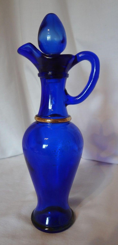 Avon Cobalt Blue Genie Glass Decanter Bottle Glass Stopper Gold Ring
