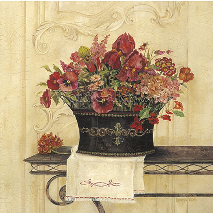 kathryn white artwork | Linen and Pansies by Kathryn White Art Print - WorldGallery.co.uk