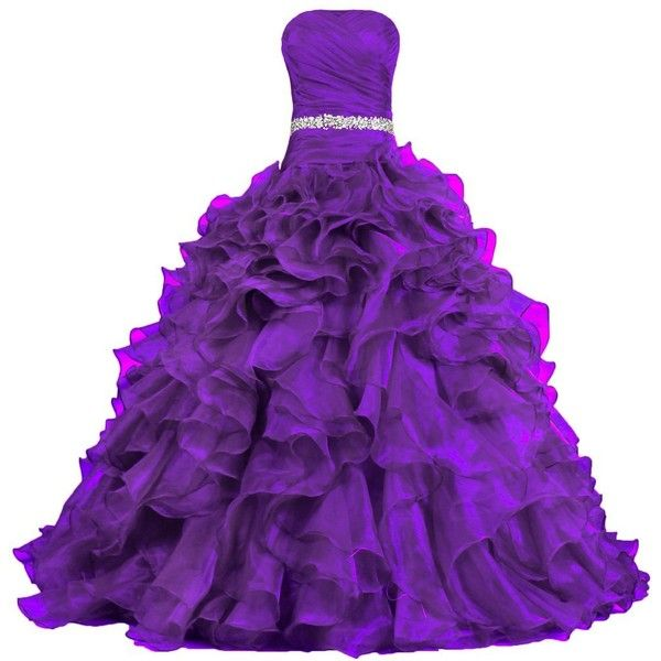 ANTS Women's Pretty Ball Gown Quinceanera Dress Ruffle Prom Dresses (475 QAR) ❤ liked on Polyvore featuring dresses, gowns, prom evening dresses, quinceanera gowns, ruffle gown, purple ball gowns and purple gown