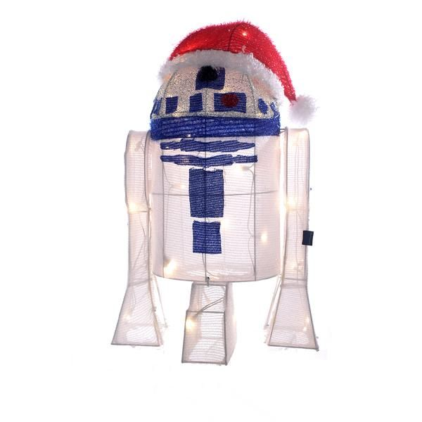 "UL 50/L 28"" R2D2 TINSEL W/PACKAGE, 60"" WHITE LEAD WIRE & 2.5V 0.14A CLEAR INCANDESCENT BULB. INDOOR/OUTDOOR"