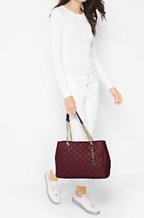 deddcf67b08b NWT Michael Kors Susannah Large Quilted-Leather Tote Shoulder Bag in Merlot   MichaelMichaelKors  ShoulderBagTote