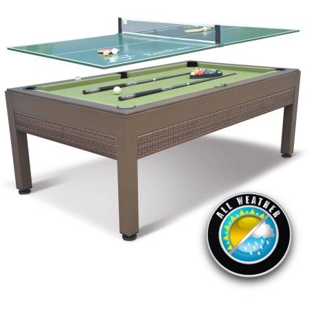 EastPoint Sports 84 inch Outdoor Billiard Pool Table with Table Tennis Top, Wicker