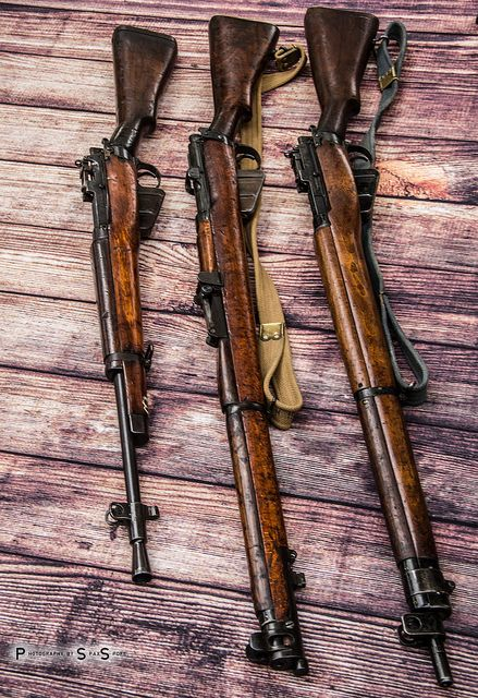 "Lee-Enfields (L to R): Rifle No5 Mk1 ""Jungle Carbine"", SMLE No1 Mk3, Rifle No4 Mk1"
