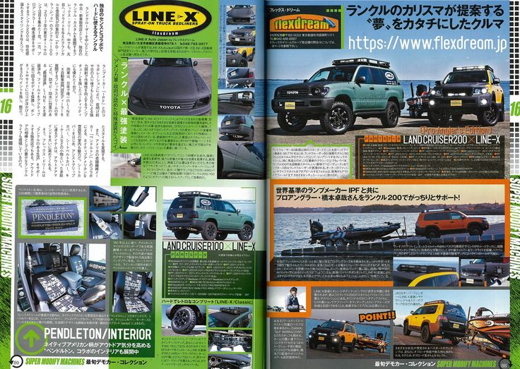 ランクル200・100リフトアップ×LINE-Xカスタム『4x4 SUV パーツガイド』取材記事    TOYOTA LANDCRUISER200 and 100