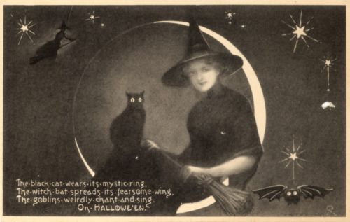 WitchyVintage Halloween, Halloween Cards, Witchy, Hallows Eve, Black White, Mystic Witches, Halloween Postcards, Vintage Witches, Black Cat
