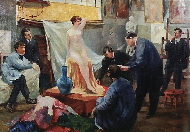 Boris Kustodiev (Russia, 1878 – 1927) Statement of the model in the studio of Ilya Repin, 1899